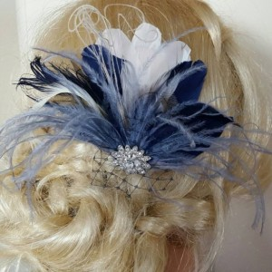 Navy Blue Hair Fascinator, Feather accessories.  Great Gatsby,  Wedding Hair Clip, Bridal Hair Clip, Feather Hair Clip, Feather Fascinator