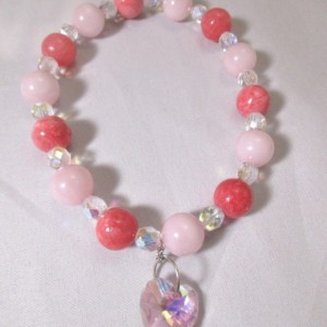 Bracelet Heart Charm Pink and Crystal Elastic Band