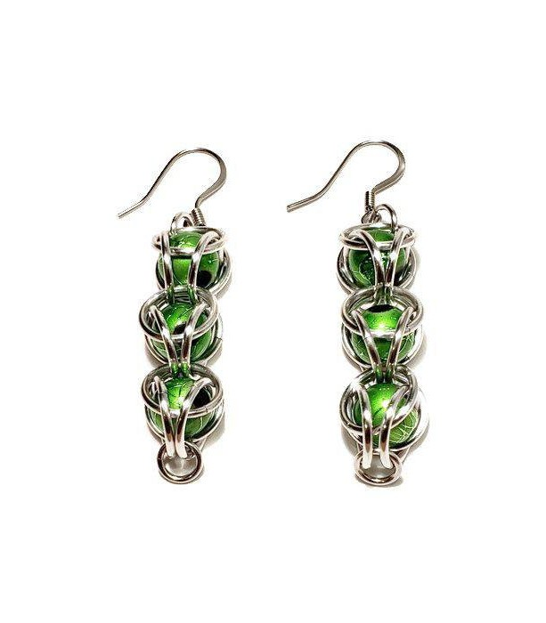 Green dangle earrings / chainmaille / Captured bead / Halloween Jewelry