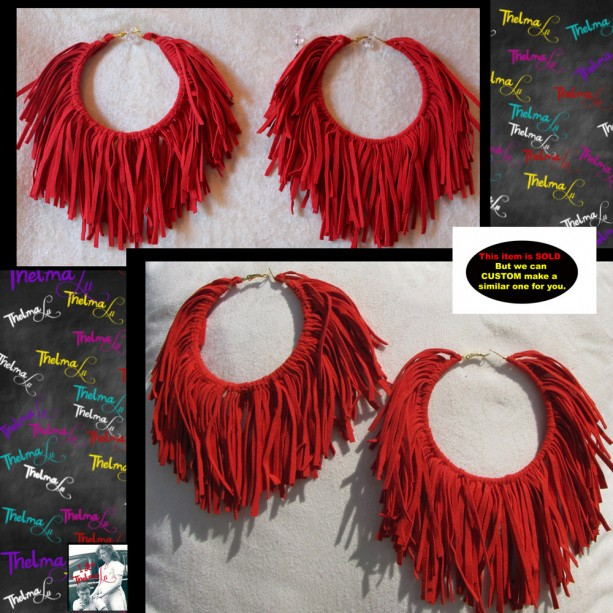 Red Fringe Earrings,Ultra suede,ultra suede earrings,fabric fringe,red earrings,Handmade Earrings,Long Fringe,Unique Earrings,Lite Weight