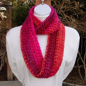 Women's Small Colorful INFINITY SCARF Loop Cowl, Hot Pink, Bright Orange, Plum Striped Soft Short Crochet Knit, Office Scarf, Chemo Scarf, Ready to Ship in 2 Days