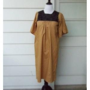 Handmade Rustic Yellow Women's Dress with Black Yoke