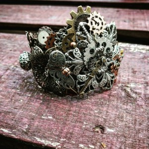 Steampunk Industrial Neo-Victorian Repurposed Handmade Ooak Machinery Lace Floral Filigree Collage Cuff Bracelet