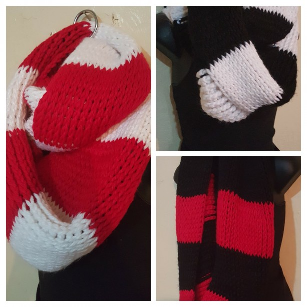 Thick Chunky Crochet Two-Toned Striped Handmade Infinity Super Bulky Cowl Scarf in 3 color Blends -Black/White, Red/White, and Black/Red,