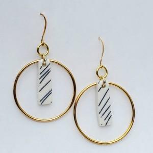 Handmade porcelain earrings, 22k gold plate