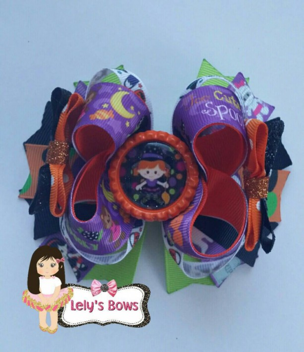Halloween Stacked Boutique Hair Bow , Halloween hair bow, Halloween bow, Halloween clip, Halloween, witch Hair Bow, orange and black hairbow