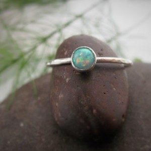 Opal Ring, Opal Stacking Ring, Silver Stacking Ring, Minimal Ring- Hand Hammered and Forged, Sterling Silver
