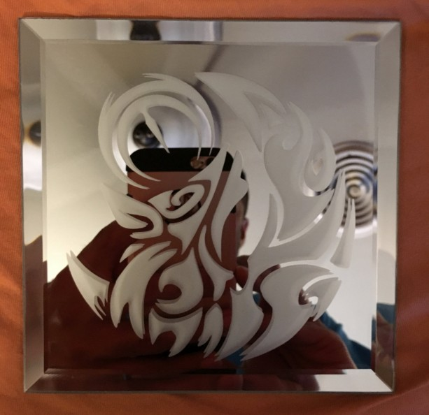 Tribal Moon Wolf Mirror Glass Etching