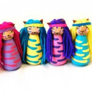 Princess kitty - Princess dolls - Kitty doll - Girls toys - Unique - Peg dolls - Cat - Stocking stuffer - Gift - Kids toys - Wooden doll
