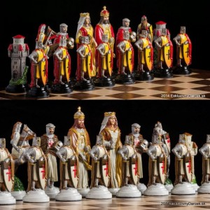 Tin Handmade Chess Sets : Knight Crusader  - hand painted
