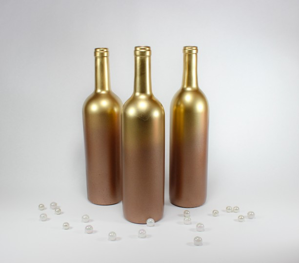 Ombre Gold Copper Wine Bottle Vase Collection Set Of 6 Aftcra