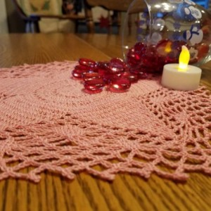 Star handmade doily. Pink star doily. Home decor. Table decorations