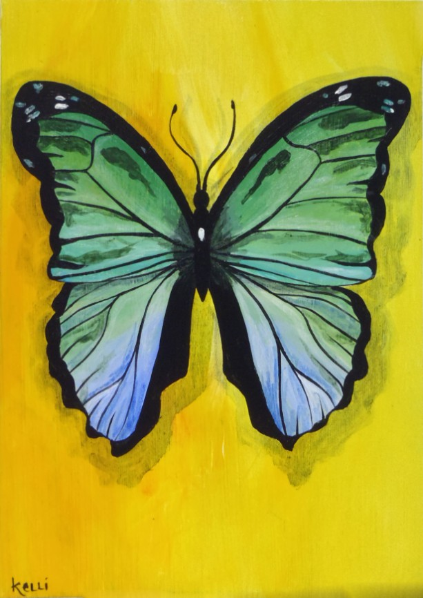 """Morpho Green Butterfly"" original painting"