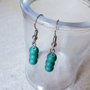 Beautiful Handmade Teal Glass Dangle Drop Earrings