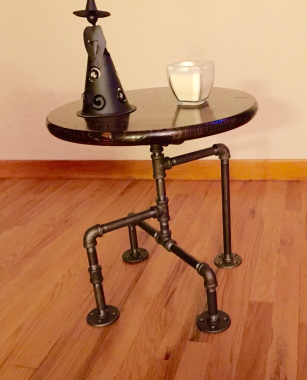 ... Steampunk Industrial Black Pipe Table, End Table, Man Cave Table, Bar  Table, ...