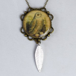 AS IS SALE - Owl Pendant with Feather in Bronze Cabochon