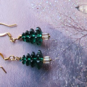 Christmas Tree Earrings with gold top