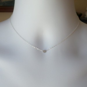 Tiny Silver Dot Necklace - Silver Circle Necklace - Sterling Silver Necklace - Tiny Necklace - Christmas Gift