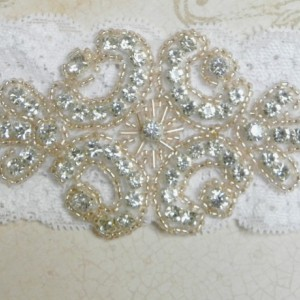 White Lace & Satin Garter Set with Rose Gold Beading & Rhinestones