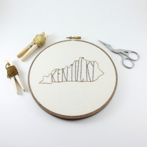 Kentucky State Embroidery Hoop Art