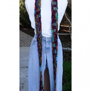 Women's Colorful Extra Long Skinny Scarf, Red Burgundy Gold Green Purple Turquoise Blue, Soft Thick Handmade Crochet Knit Narrow, Ready to Ship in 3 Days