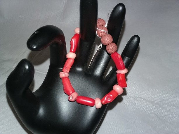 Red Coral Gemstones w/Lava Stone Diffuser Bracelet