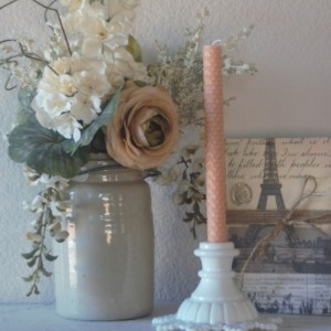 Apricot Rolled Honeycomb Beeswax Candles