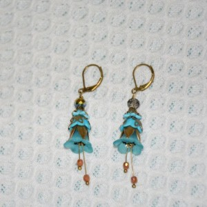 Flower Earrings in Blue