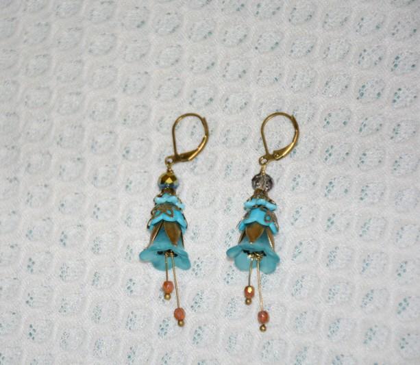 Flower Earrings in Blue