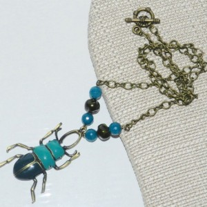 Colored Beetle Necklace A05446