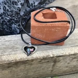 90's Choker, Vintage Heart Pendant, Diachromatic Glass, Suede Wrap