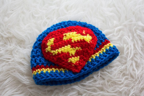 b63dc36957f ... 0-3 month Crochet Superman Cape and Hat~Handmade Crochet Super Hero  Cape and