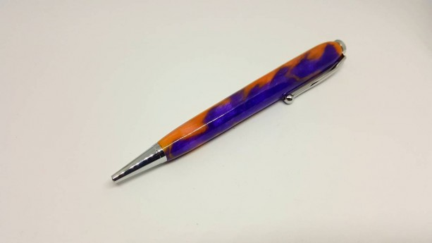 Handcrafted Acrylic Purple/Pink Modified Slimline pen