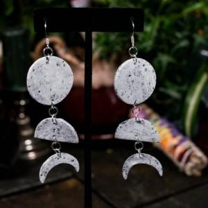 Small polymer clay moon cycle dangle earrings