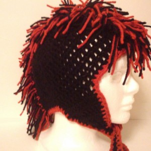 Crochet Mohawk Beanie Cap Red and Black