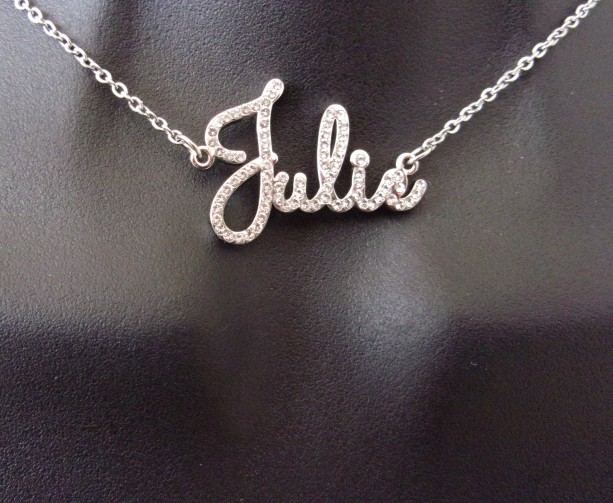 Personalized, diamond bling script name necklace