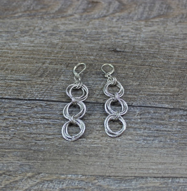 Rhodium Spiral Rosette Chainmaille Earrings