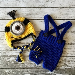 Minion Inspired Beanie in Yellow, Black and Blue with Matching Shorts Overalls- MADE TO ORDER