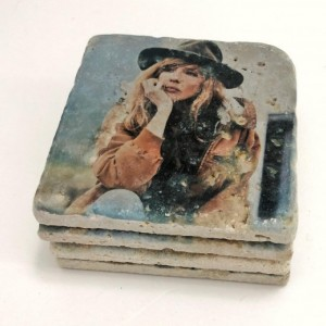 Yellowstone Coasters, Beth Dutton, Rip Wheeler, John Dutton, Natural Stone Coasters Set of 4 with Full Cork Bottom Coasters