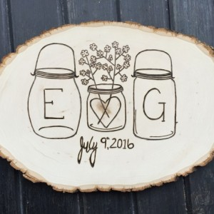 Pyrography wedding decor