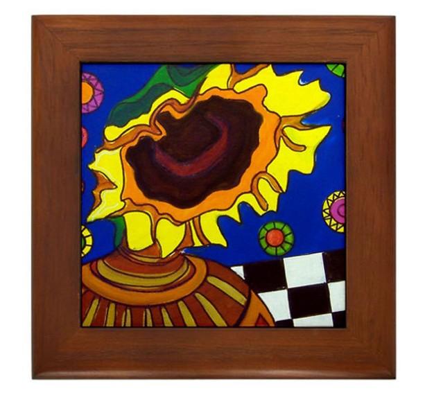 """Mexican Folk Art- """"Sunflower"""" - FRAMED TILE By Artist A.V.Aposte"""