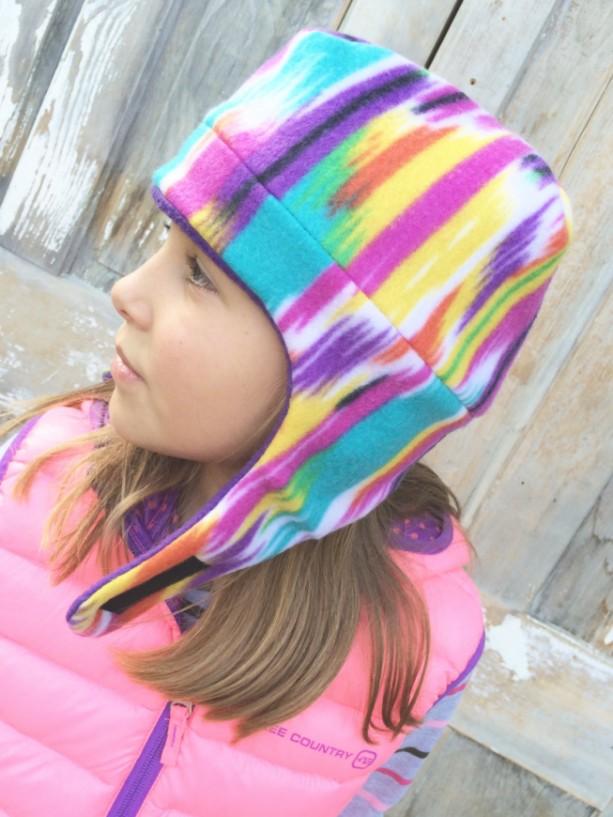 Kids Fleece Winter Hat With Chin Strap Reversible Unisex