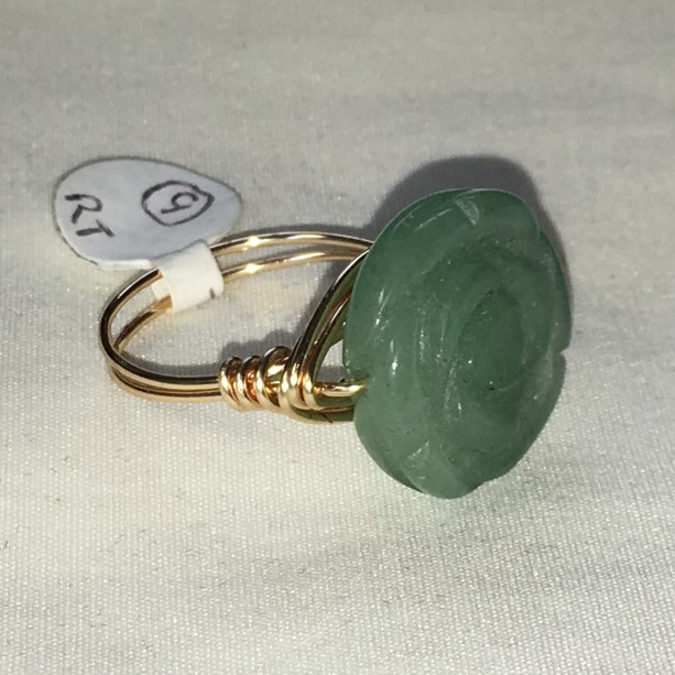 Jade Flower Wire Wrapped Ring Size 9