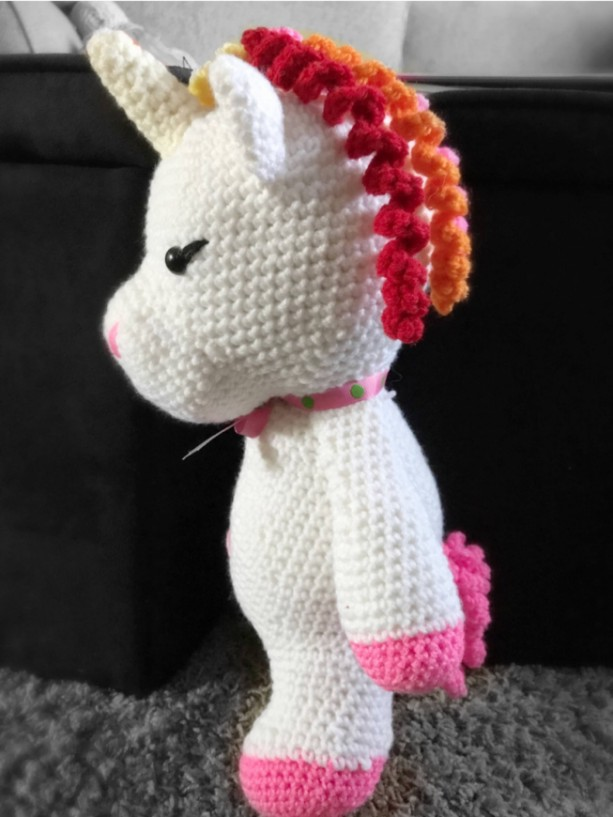Large unicorn plush, rainbow hair
