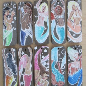 Set Of 10 Hand Painted Drift Wood Mermaid Ornaments- Holiday Home decor