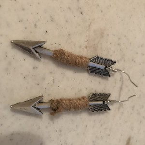 Handmade Arrow Hemp Wrapped Dangle Earrings