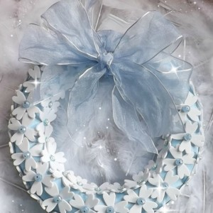 WREATH Spring/Summer, Baby Blue , ELEGANT Wreath, Sparkle/IRIDESCENT Wreath, Floral Decor:  Girl's Room, Birthday, Bridal, Celebration