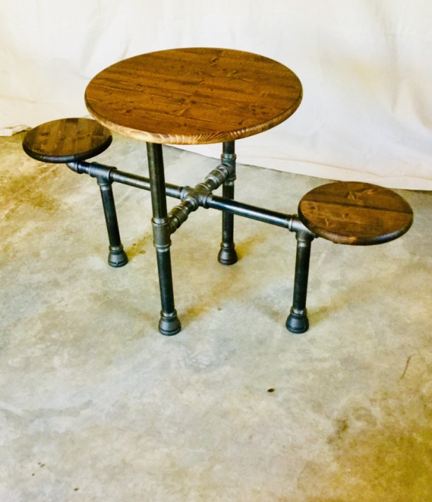 "Industrial Design Black Pipe Table ""DIY"" Parts Kit, 1-1/4"" Black Pipe- Optional table top/seats, FREE SHIPPING!!"