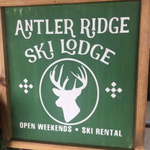 Antler Ridge Reindeer Rustic Christmas Wall Hanging Sign