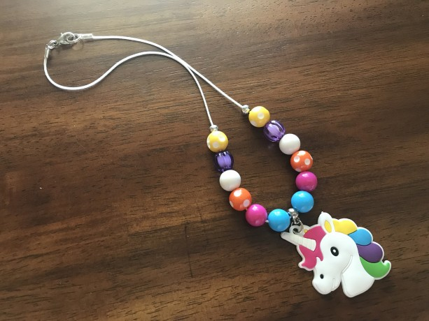 Unicorn Mini Chunky Necklace, Unicorn Bubblegum Necklace, Unicorn Gumball Necklace, Kid Jewelry, Chunky Necklace, Ready To Ship, Rainbow